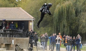 Richard Browning sets the Guinness world record for 'the fastest speed in a body-controlled jet-engine-powered suit' reaching 32.02mph.