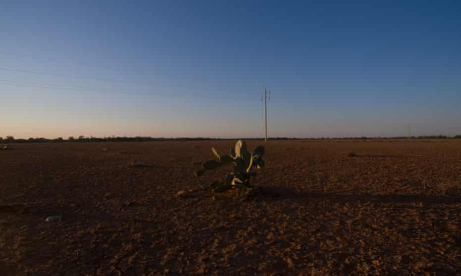 Drought affected pastures near Wyandra, Queensland Australia. 19 August 2018.