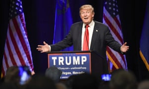 Republican presidential hopeful Donald Trump speaks at a rally at the Westgate hotel in Las Vegas, Nevada.