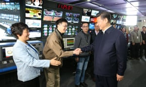 Chinese President Xi Jinping meets staff at China Central Television (CCTV) in Beijing where he told editors they must pledge absolute loyalty to the party.