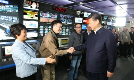 Xi Jinping visiting China Central Television (CCTV) in Beijing on 19 February, where he demanded absolute loyalty from Chinese media.