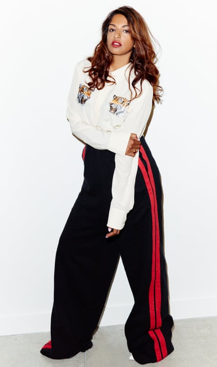 MIA wears blouse by Stella McCartney (harveynichols.com) and track trousers by Vetements (matchesfashion.com).