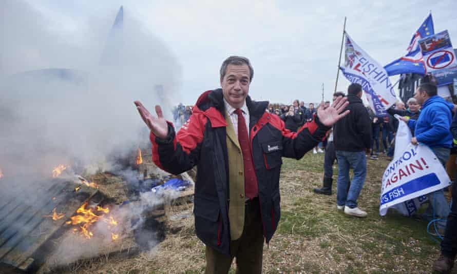 Nigel Farage at a protest in Whitstable organised by pro-Brexit group Fishing For Leave.