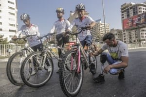 Gaza City, The Gaza StripPalestinian amputees participate in a bicycle race, at Gaza sea port. Almost 50,000 Palestinians are classified as ''disabled'' among the 2-million population of the blockaded Gaza Strip.