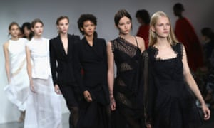 Models walk the runway at the Antonio Berardi show during London Fashion Week