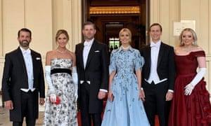 Eric, Lara, Donald Jr, Ivanka, Jared and Tiffany at the state banquet at Buckingham Palace.
