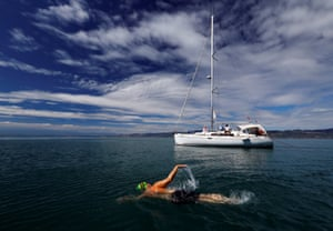 Peter Whitehead swims his leg of the 70 km relay across Lake Leman from Montreux to Geneva, near Villeneuve