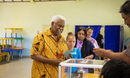 Congress president Roch Wamytan votes in the independence referendum at Mont Dore, New Caledonia