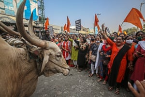 Mumbai, India: opposition Shiv Sena party workers protest against rising fuel and cooking gas prices