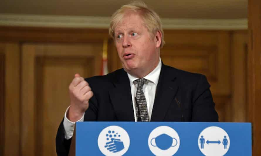 Boris Johnson speaking at a press conference on Saturday