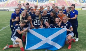 Scotland celebrate after their win over Albania which meant they qualified for the 2019 Women's World Cup