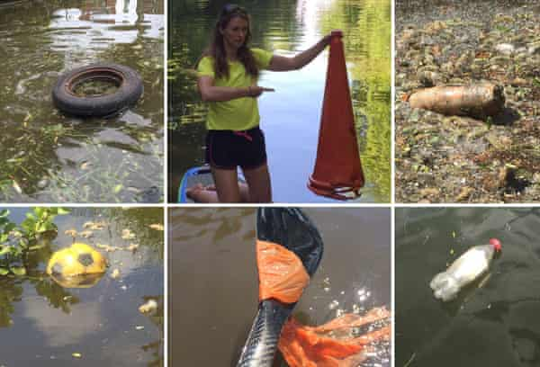 Adventurer and Ordnance Survey #GetOutside Champion, Lizzie Carr, shows the plastic pollution along her route.