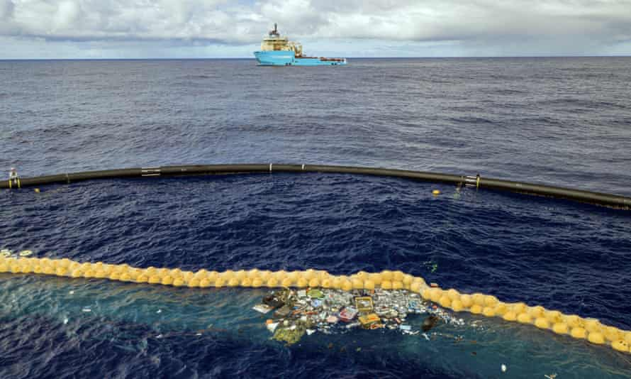 The Ocean Cleanup project's system retains plastic in front of an extended cork line
