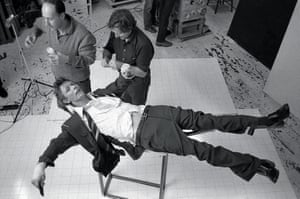 David Bowie during the photoshoot for his 1979 album Lodger