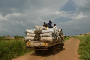 A truck loaded with charcoal heads south from Amuru district toward Kampala