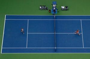 Angelique Kerber, right, returns a shot to Karolina Pliskova.