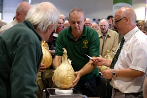 Officials weigh onions during judging