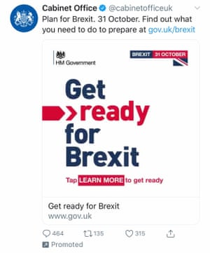 A tweet urging people to 'Get ready for Brexit'