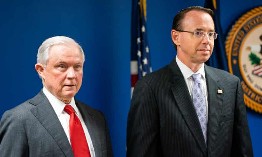 Rod Rosenstein with his boss Jeff Sessions. Rosenstein oversees the work of the special counsel, Robert Mueller, who is investigating Russian election interference.
