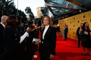 Rachel Griffiths is stopped on the red carpet.