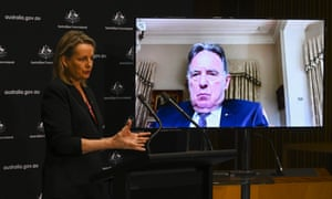 Sussan Ley and Graeme Samuel (on screen) release the interim report of the independent review into the Environment Protection and Biodiversity Conservation Act on Monday