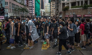 Protesters marching in the Hung Hom area of Hong Kong.