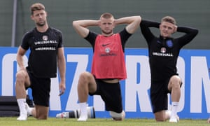 England players Gary Cahill, Eric Dier and Kieran Trippier train on the eve of the group G match with Tunisia in Volgograd.