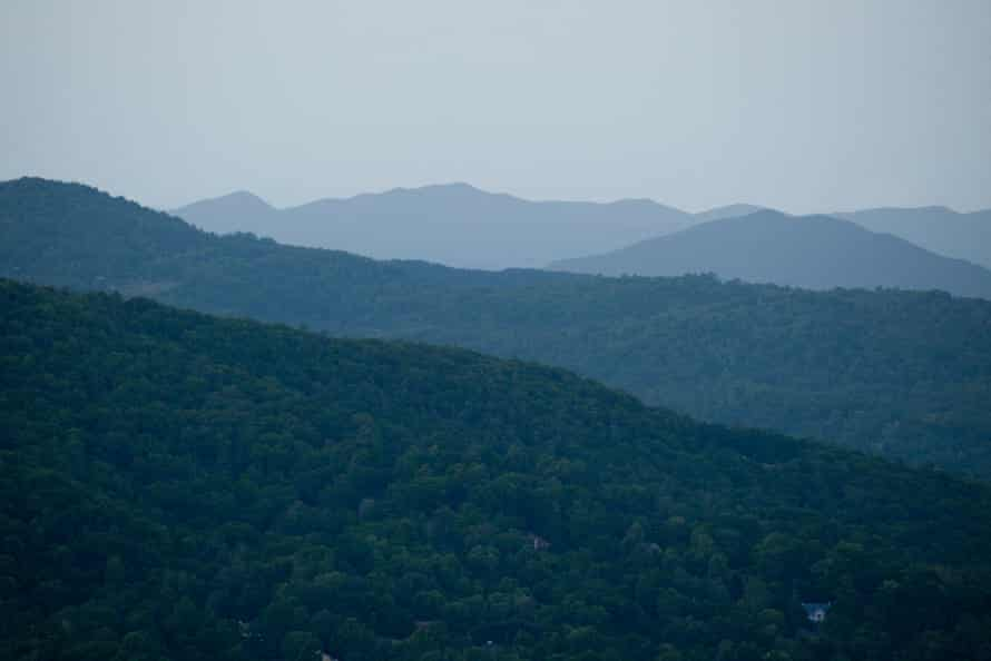 At dusk, the Appalachian Mountains extend into the distance.