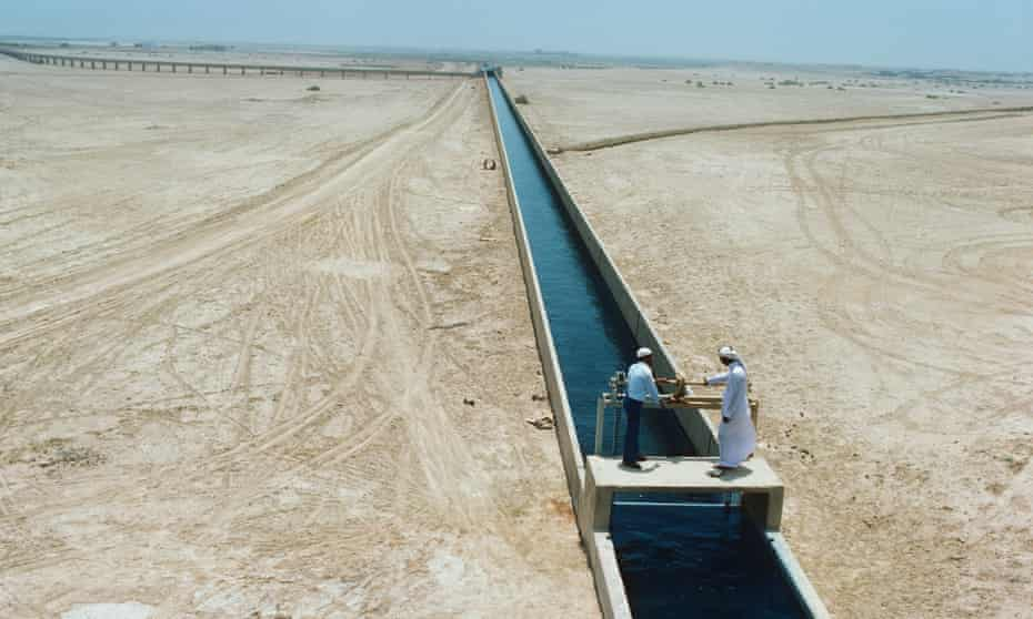 Irrigation canals in Saudi Arabia channel fresh water from deep wells and desalination plants to farms and homes.