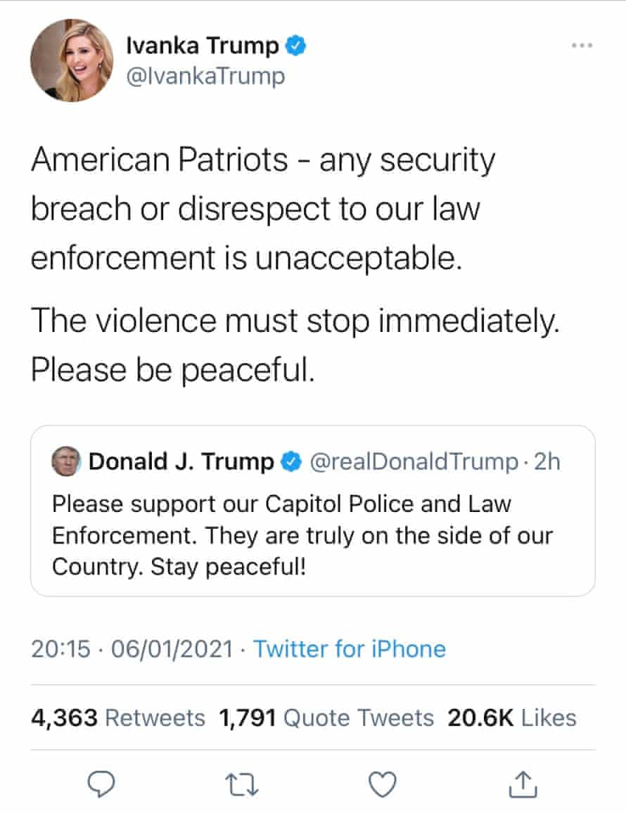 Ivanka Trump tweets about the siege at the capitol in the USA.