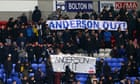Parkinson unhappy with Bolton fans over protests before loss to West Brom