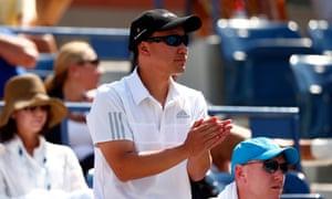 Michael Chang looks on as Kei Nishikori plays Novak Djokovic at the US Open last year.