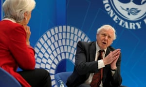 Sir David Attenborough during an interview with the International Monetary Fund's managing director, Christine Lagarde, at the spring meetings of the World Bank Group and the IMF in Washington.