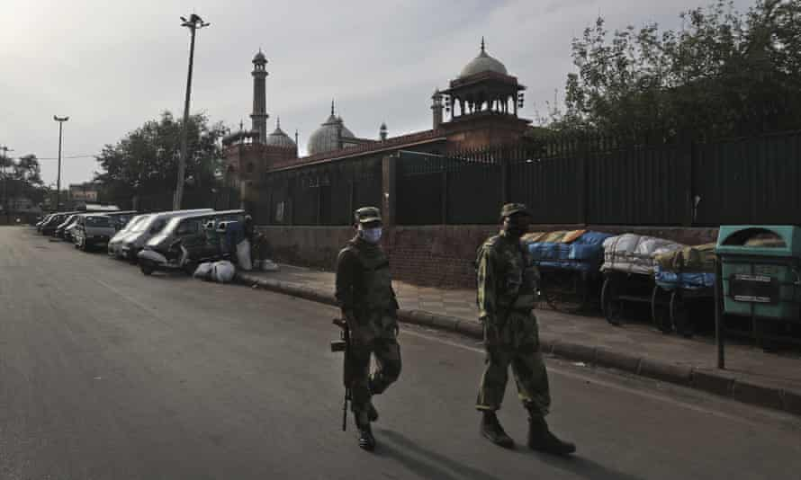 Indian soldiers on patrol in the old quarters of New Delhi during the lockdown.