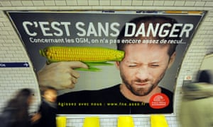 An advert warning against genetically modified food at a subway station in Paris.