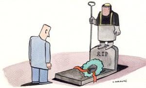 Andrzej Krauze illustration showing the demise of UK steel