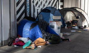 A homeless community in Shoreditch, east London.