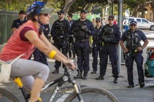 Brisbane, Australia Police keep a watchful eye