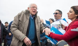 Bernie Sanders greets supporters outside of a polling station in Dearborn Heights, Michigan Tuesday.