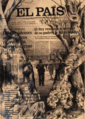 16 March, El País, Spain  This single work is composed of 40 drawings made on the front pages of newspapers.All photographs Kleinefenn/Tatiana Trouvé/courtesy Gagosian Gallery