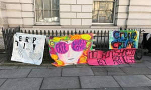 Banners from supporters of the alleged computer hacker Lauri Love outside Westminster magistrates court in London