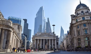 A view of the Royal Exchange and Bank of England in London.