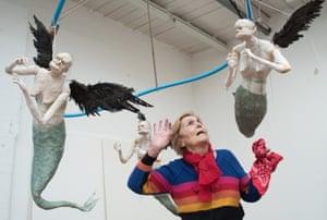 'I've been depressed so often' … Paula Rego with her Flying Mermaids.