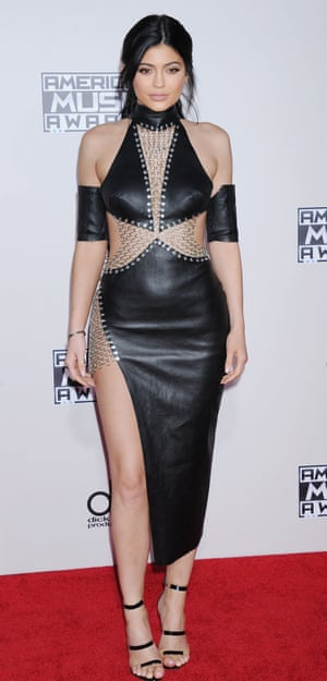 <strong>Leather up</strong> Kylie Jenner in a leather cut-out dress.