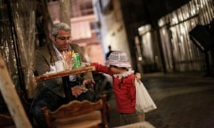 A six-year-old boy from Damascus sells chewing gum in Beirut.