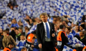 A relieved Guus Hiddink at the final whistle of Chelsea's Champions League tie against Liverpool in 2009