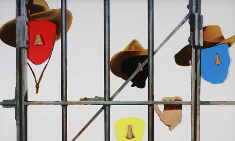 Noses & Ears, Etc (Part Two): Four (Red, Black, Blue, Yellow) Faces, Cowboy Hats, and Prison Bars, 2006, by John Baldessari.