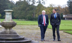 Johnson and Varadkar meet in Cheshireepa07910485 A handout photo provided by the Irish Government Information Service press office shows a meeting between Taoiseach Leo Varadkar (R) and British Prime Minister Boris Johnson in Thornton Manor, Cheshire, Britain, 10 October 2019. EPA/NOEL MULLEN HANDOUT HANDOUT EDITORIAL USE ONLY/NO SALES