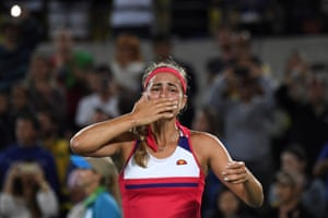 Puerto Rico's Monica Puig reacts after winning the women's singles final.