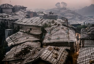 Makeshift bamboo shelters in the morning mist, Balukhali refugee camp, Cox's Bazar